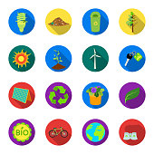 Bio and ecology flat icons in set collection for design. An ecologically pure product vector symbol stock  illustration.