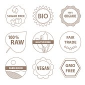 Vector bio and healthy food labels in a simple line style.