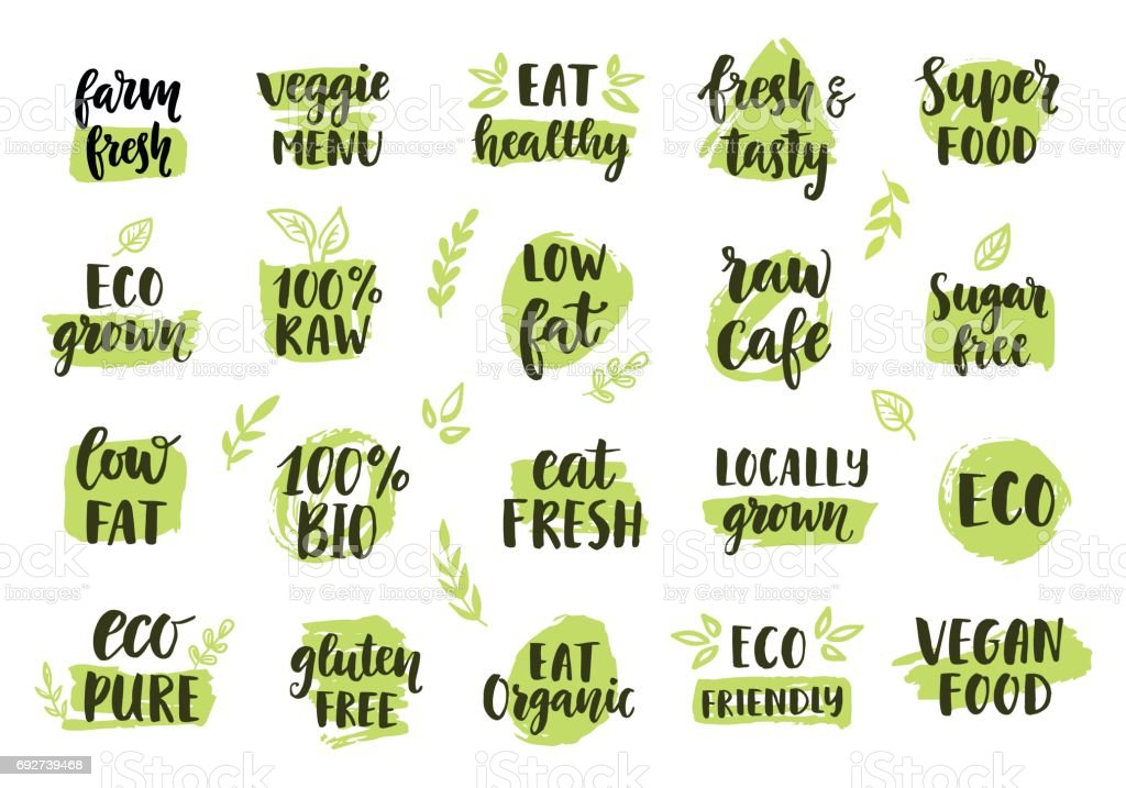 Bio, eco, organic icons set vector art illustration