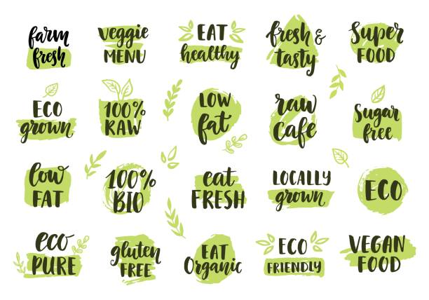 bio, eco, organic icons set - organic stock illustrations, clip art, cartoons, & icons