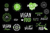 Bio, Ecology, Organic logos and icons, labels, tags. Hand drawn bio healthy food badges, set of raw, vegan, healthy food signs, organic, elements set. go vegan, vegetarian, hand drawing black green