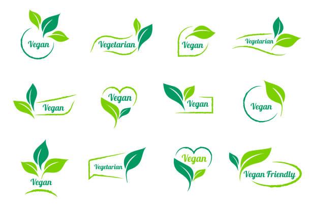 ilustraciones, imágenes clip art, dibujos animados e iconos de stock de bio, ecología. plantillas de iconos de vector vegano etiqueta establece. - sin gluten
