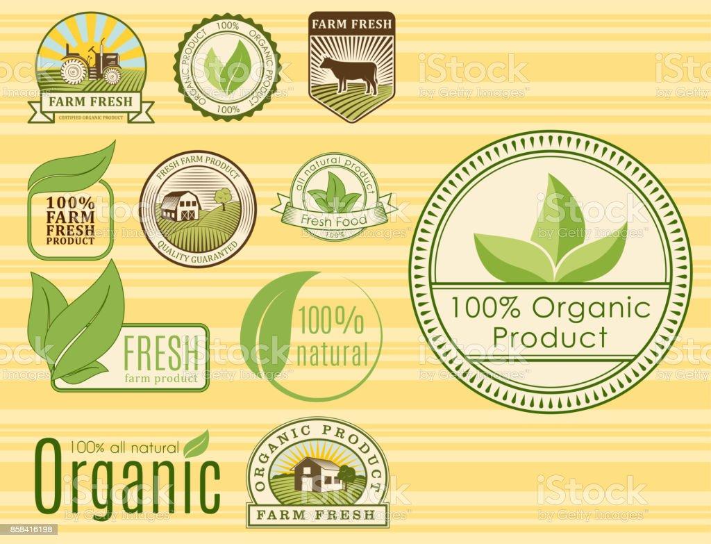 Ilustración de Bio Granja Orgánica Eco Alimentos Saludables ...