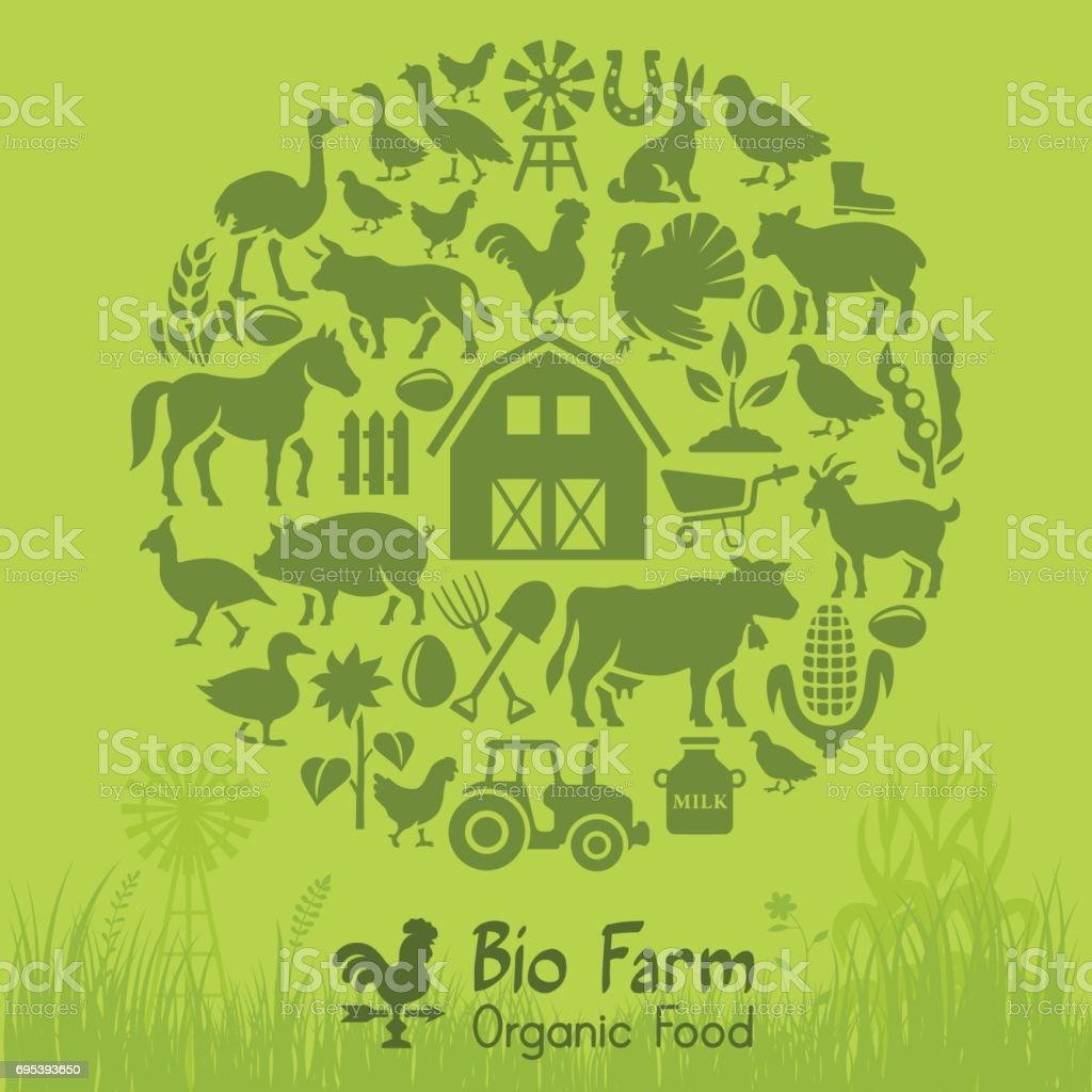 Bio Farm vector art illustration