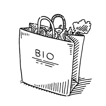 Bio Fruit And Vegetables Paper Bag Drawing