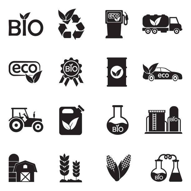 ilustrações, clipart, desenhos animados e ícones de ícones de bio combustível. projeto liso preto. ilustração em vetor. - corn farm