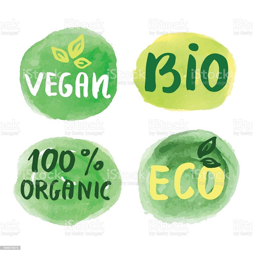 Bio natural food concept. Set of vector labels - Illustration vectorielle