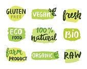 Bio natural food concept. Set of vector labels. Emblems, stamps design. Ecology logo. Hand drawn lettering, stains