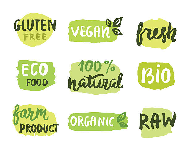 Bio natural food concept Bio natural food concept. Set of vector labels. Emblems, stamps design. Ecology logo. Hand drawn lettering, stains organic stock illustrations
