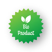 Bio Product Badge Template. Label Badge with Leaves. Organic Products and Organic Food Badge.