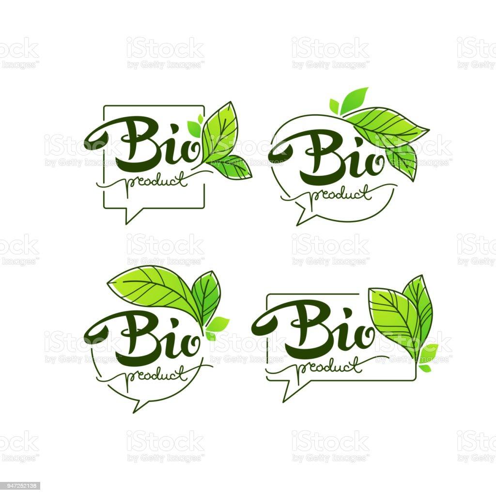 Ilustración de Productos Bio Doodle Orgánica Deja Emblemas Elementos ...