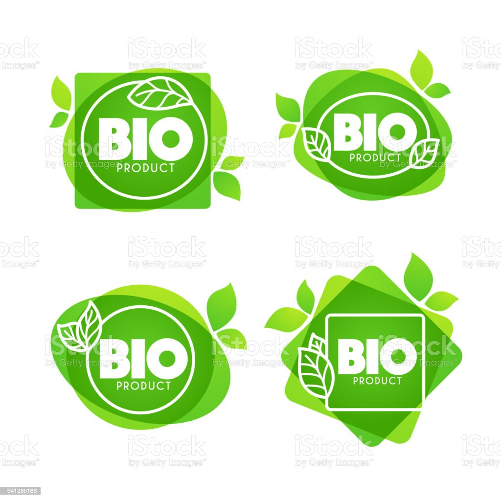 Ilustración de Productos Bio Doodle Orgánica Deja Emblemas Stickers ...