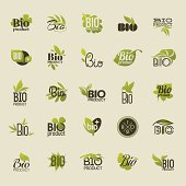 Bio product. Set of labels and emblems