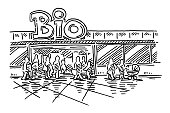 Bio Supermarket Shopping People Drawing