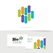 Bio technology logo with abstract color genetic microorganism structure isolated on white background, biotech logotype vector symbol, business card