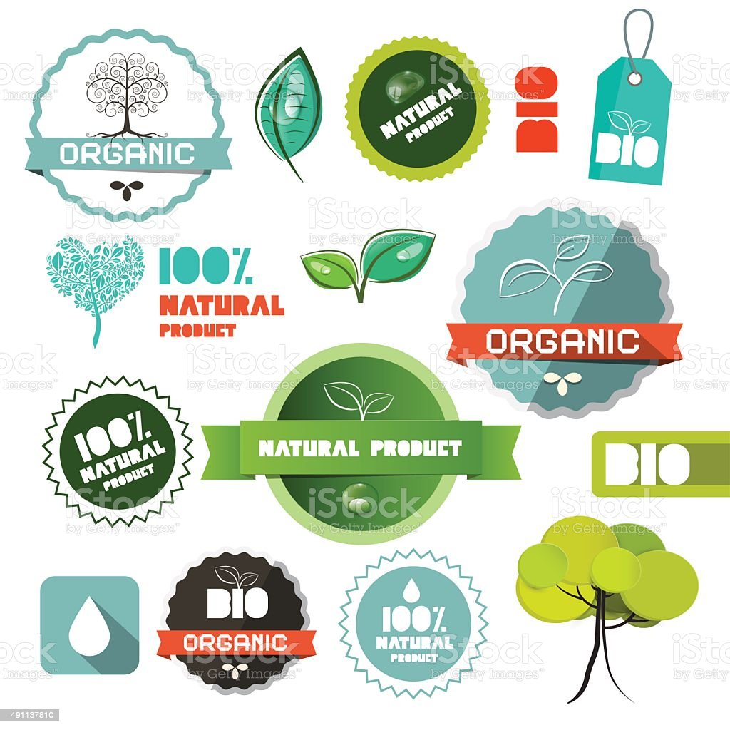 Bio Vector Organic Natural Product Flat Design Labels vector art illustration