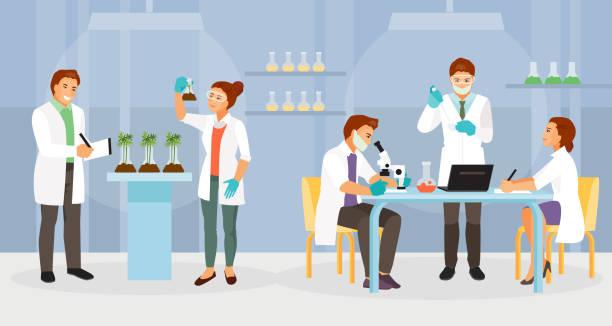 ilustrações de stock, clip art, desenhos animados e ícones de biochemical laboratory vector - scientist