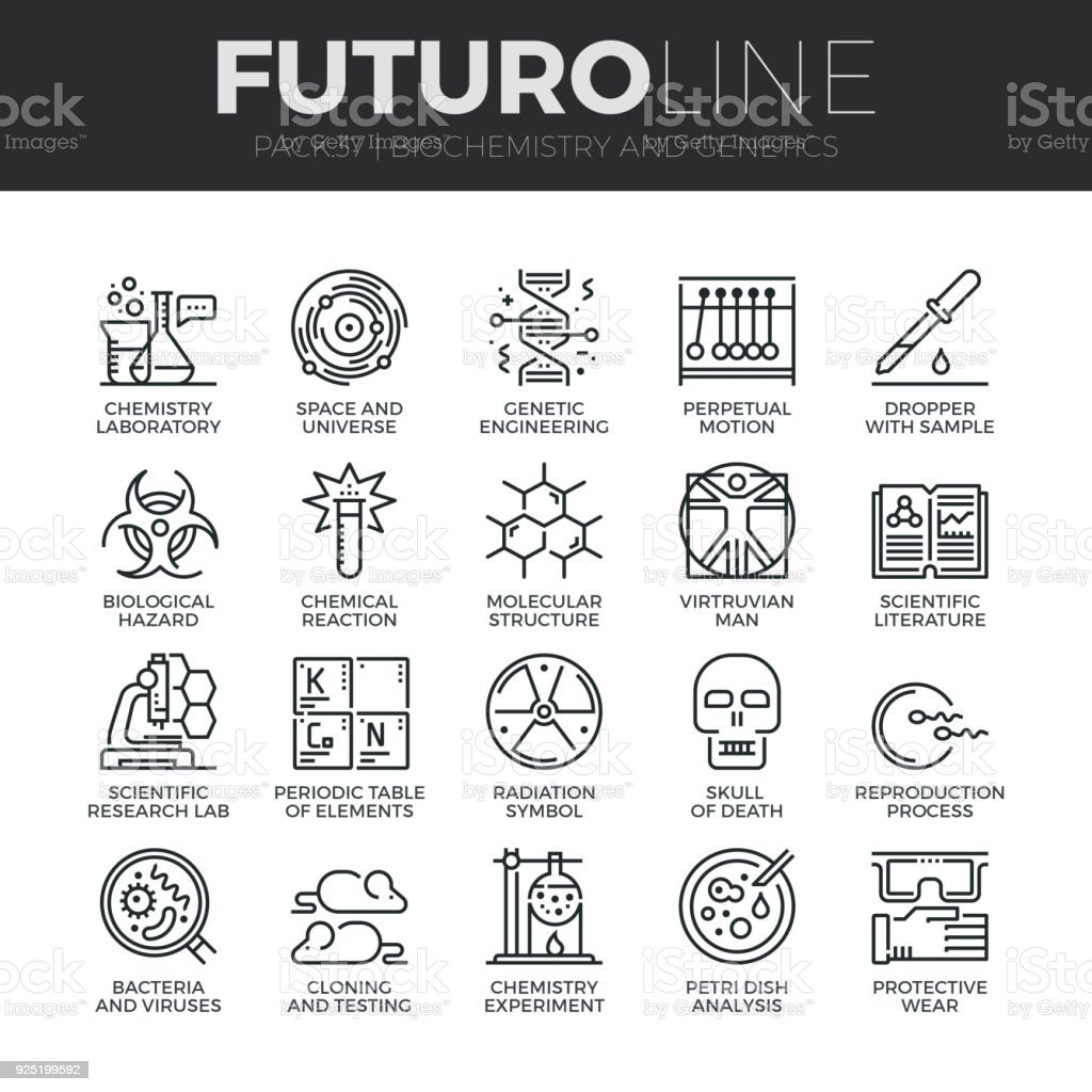 Biochemistry and Genetics Futuro Line Icons Set vector art illustration