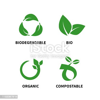 Biodegradable and compostable concept reduce reuse recycle vector illustration isolated on white background