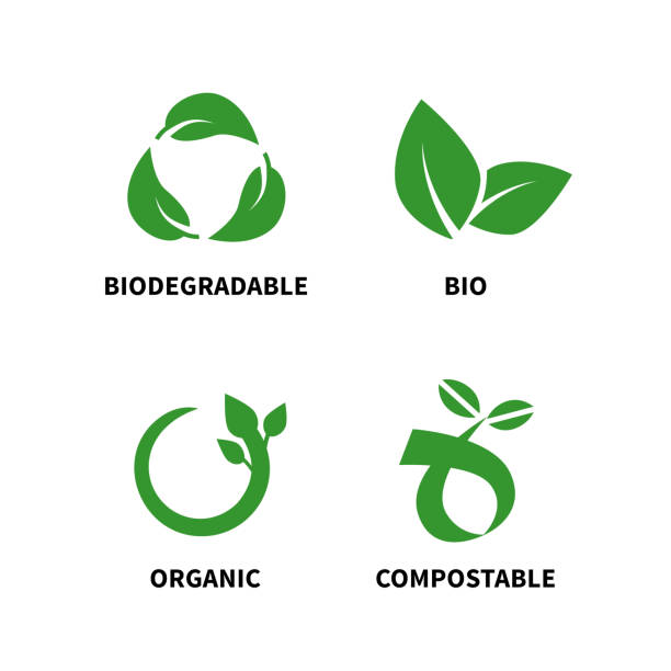 Biodegradable and compostable concept reduce reuse recycle vector illustration Biodegradable and compostable concept reduce reuse recycle vector illustration isolated on white background organic stock illustrations