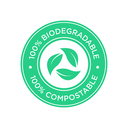 100% Biodegradable and compostable icon.