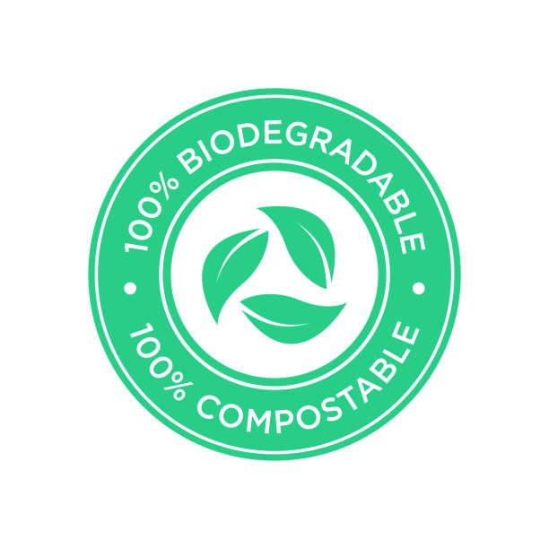 100% Biodegradable and compostable icon. Round and green symbol. good condition stock illustrations