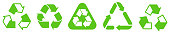 Biodegradable, compostable, recyclable icon set. Set of green arrow recycle. Set of recycle icon. Flat design web elements for website, app for infographics materials. Green recycling and rotation arrow icon pack.Vector illustration