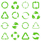Biodegradable, compostable, recyclable icon set. Set of green arrow recycle. Mega set of recycle icon. Flat design web elements for website, app for infographics materials. Green recycling and rotation arrow icon pack.Vector illustration