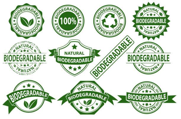 symbol znaku etykiety z gumą biodegradowalną - pieczęć znaczek stock illustrations