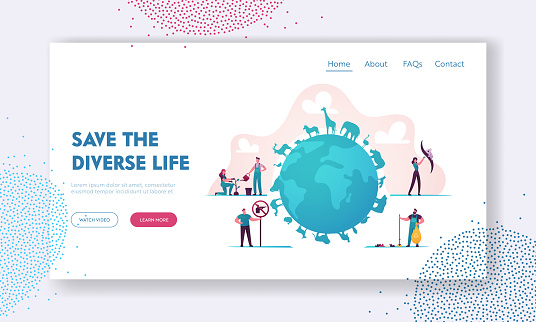 Biodiversity Landing Page Template. Tiny Characters Care of Various Wildlife Creatures and Plants, Flora and Fauna Life, Animals Endangered Conservation on Earth. Cartoon People Vector Illustration