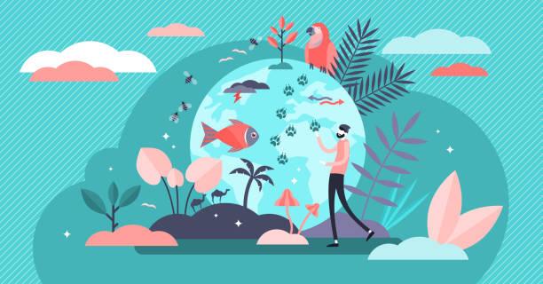 Biodiversity vector illustration. Flat tiny various wildlife person concept vector art illustration