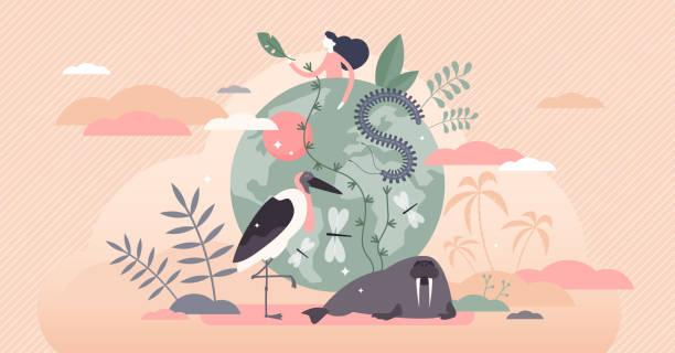 bildbanksillustrationer, clip art samt tecknat material och ikoner med illustration av den biologiska mångfaldens vektor. olika vilda djur platt liten person koncept - biologisk mångfald