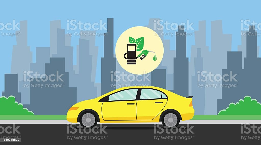 biofuel green with leaf  car on the way background city vector art illustration