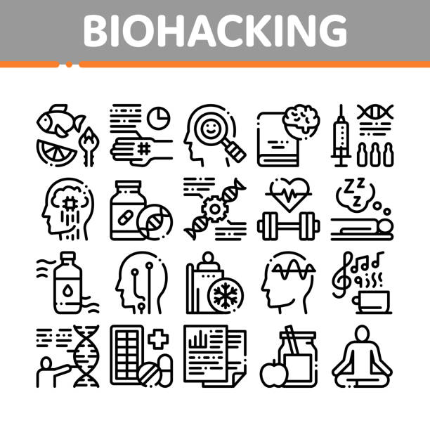 Biohacking Collection Elements Icons Set Vector Biohacking Collection Elements Icons Set Vector Thin Line. Meditation And Brain, Dna And Helix, Genetic And Drugs Biohacking Concept Linear Pictograms. Monochrome Contour Illustrations biohacking stock illustrations