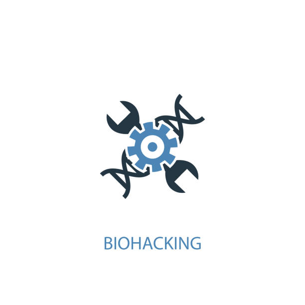 biohacking concept 2 colored icon. Simple blue element illustration. biohacking concept symbol design. Can be used for web and mobile UI/UX biohacking concept 2 colored icon. Simple blue element illustration. biohacking concept symbol design. Can be used for web and mobile UI/UX biohacking stock illustrations