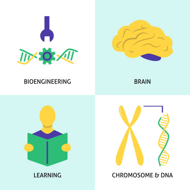 Biohacking concept icons set in flat style Biohacking icons set in flat style. DIY biology concept symbols collection. Vector illustration. biohacking stock illustrations