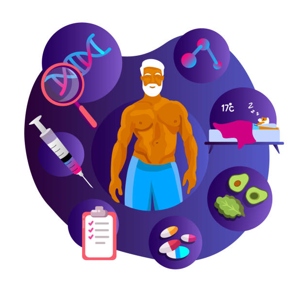 Biohacking concept. Old gray-haired Healthy man. Life Extension Program. Injection Sleeping Tests, Gene DNA, Vitamins, Nutrient-enriched food Biohacking concept. Old gray-haired Healthy man. Life Extension Program. Injection Sleeping Tests, Gene DNA, Vitamins, Nutrient-enriched food. Lifestyle discipline Biohacking. Flat vector illustration biohacking stock illustrations