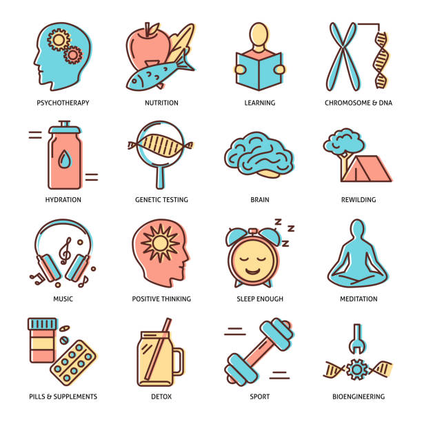 Biohacking icons set in colored line style Biohacking icons set in colored line style. Health improvement concept symbols. Vector illustration. biohacking stock illustrations