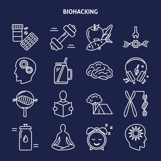 Biohacking icons set in thin line style Biohacking icons set in line style. Health improvement concept symbols. Vector illustration with editable stroke. biohacking stock illustrations