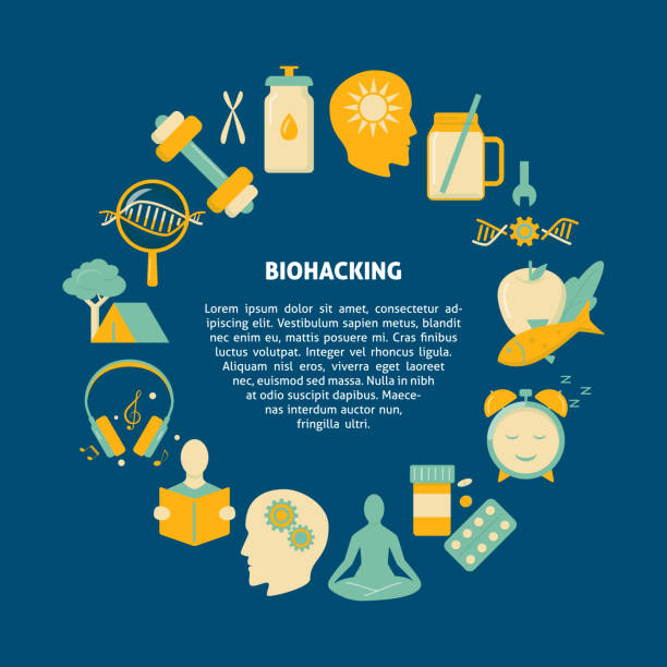 Biohacking round concept banner with icons in flat style Biohacking round concept banner with icons in flat style. DIY biology theme poster. Vector illustration. biohacking stock illustrations