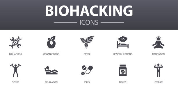 biohacking simple concept icons set. Contains such icons as organic food, healthy sleeping, meditation, drugs and more, can be used for web, logo, UI/UX biohacking simple concept icons set. Contains such icons as organic food, healthy sleeping, meditation, drugs and more, can be used for web, logo, UI/UX biohacking stock illustrations