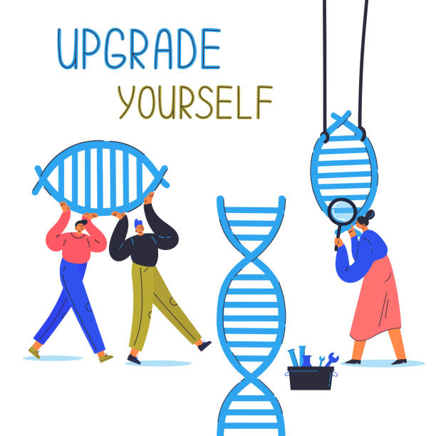Biohacking vector illustration.Flat characters Biohacking vector illustration.Biological health engineering.Men and woman explore and modify the human DNA.Laboratory research human concept illustration.Woman with magnifier,men carry dna link biohacking stock illustrations