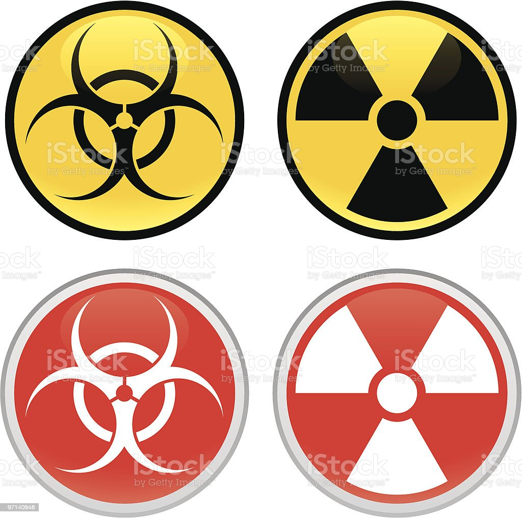 Biohazard and Radioactive Signs royalty-free biohazard and radioactive signs stock vector art & more images of biochemical weapon