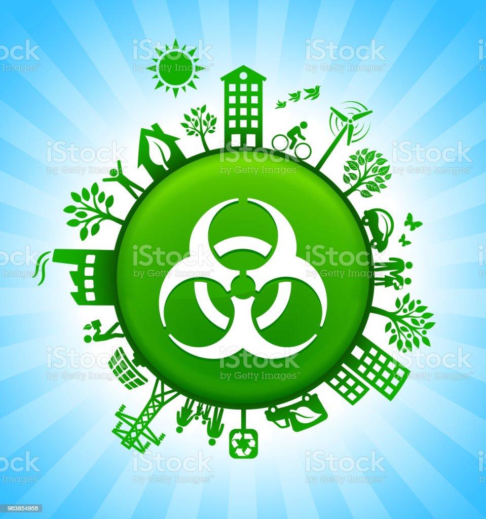 Biohazard Environment Green Button Background on Blue Sky - Royalty-free Alternative Energy stock vector