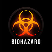 Biohazard fire color poster with black background, dark colorful vector design illustration, can be used as a print for a T-shirt or graphic element in brochure card