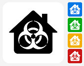 Biohazard House Icon. This 100% royalty free vector illustration features the main icon pictured in black inside a white square. The alternative color options in blue, green, yellow and red are on the right of the icon and are arranged in a vertical column.