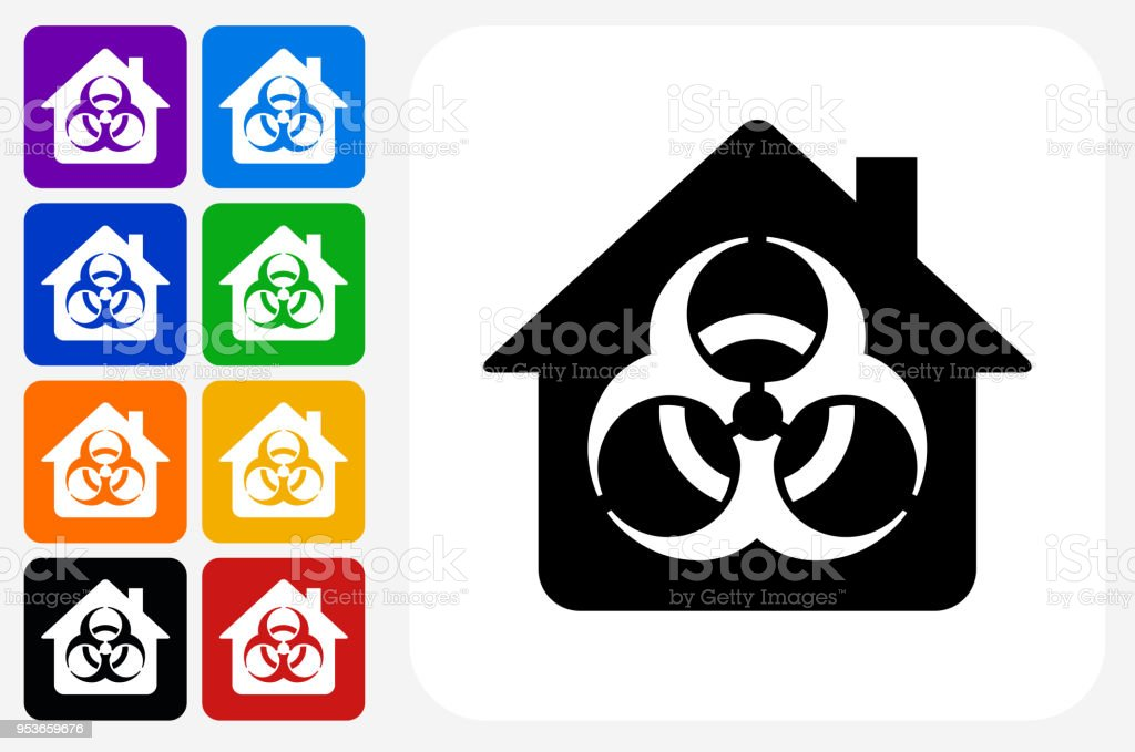 Biohazard House Icon Square Button Set Stock Vector Art More