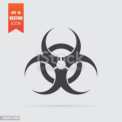 Biohazard icon in flat style isolated on grey background. For your design, logo. Vector illustration.