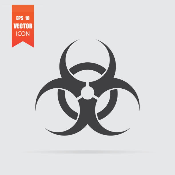 Biohazard icon in flat style isolated on grey background. Biohazard icon in flat style isolated on grey background. For your design, logo. Vector illustration. biohazard symbol stock illustrations