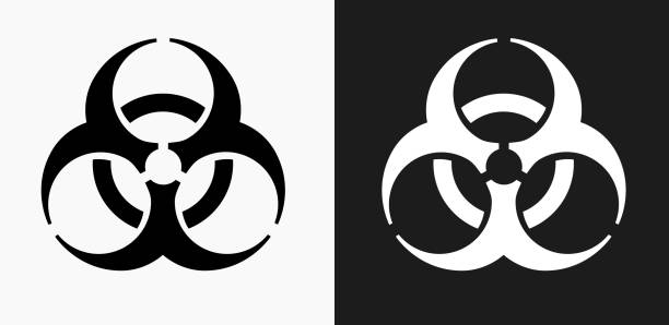 Biohazard Icon on Black and White Vector Backgrounds Biohazard Icon on Black and White Vector Backgrounds. This vector illustration includes two variations of the icon one in black on a light background on the left and another version in white on a dark background positioned on the right. The vector icon is simple yet elegant and can be used in a variety of ways including website or mobile application icon. This royalty free image is 100% vector based and all design elements can be scaled to any size. biohazard symbol stock illustrations